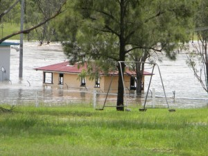 The Barambah Creek in flood