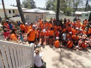 Yalari students gather outside Ration Shed Museum