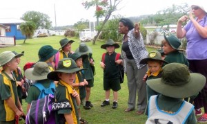 Aunty Ada gives the Tingoora school students a cultural tour