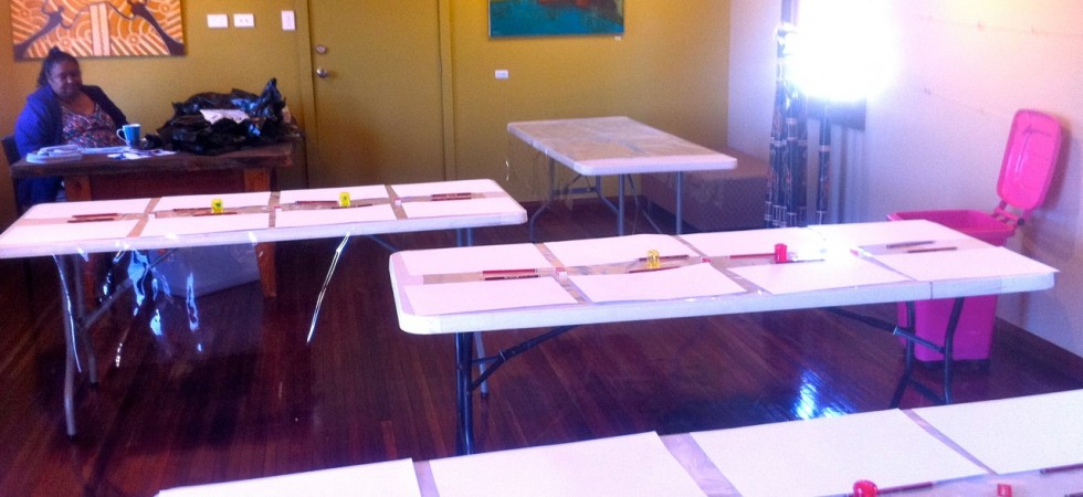 The art workshop venue laid and ready for the students