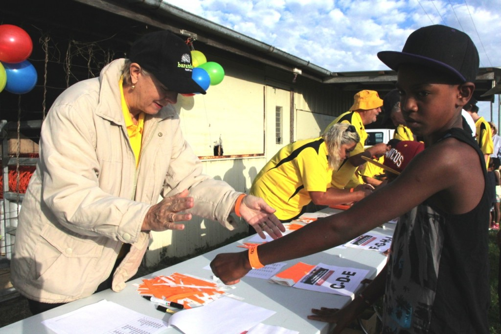 """Floyd """"Cookie"""" Aubrey registering for the Fun Run at the Murgon Showgrounds. He told people at home he was """"going to win today""""."""