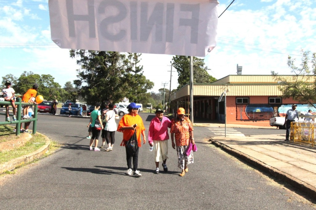 Aunty Sarah Glenbar, former Cherbourg resident and the oldest competitor in the race finishing the Fun Run.