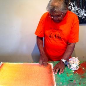 Vincent Conlon works with pastels