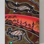 Croc & Kangaroo - Men Dancing One Playing Didgeridoo No1 - Winjelly - 45x60 - Acrylic on canvas - $60