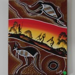 Croc & Kangaroo - Men Dancing One Playing Didgeridoo No2 - Winjelly - 45x60 - Acrylic on canvas - $60