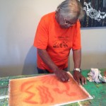 Vincent Working on Abstract in Pastels