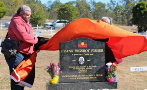 Farron Fisher unveiling the tombstone.