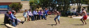 Barambah dancers welcome politicians from the US
