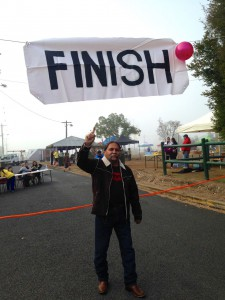 Bevan at the finish line