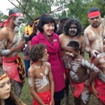 Deputy Mayor of South Burnett with Wakka dancers
