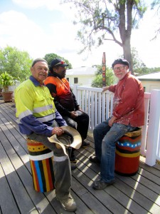 John Stanley, Fred Cobbo and Geoff Boney trying out new furniture