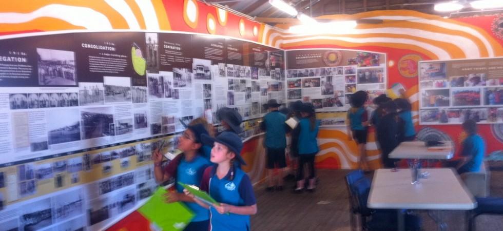 Children participating in the Ration Shed timeline workshop